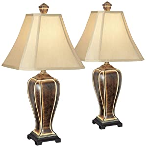 Traditional Table Lamps Set of 2 Desert Crackle Gold Jar Taupe Faux Silk Bell Shade for Living Room Family Bedroom - Regency Hill