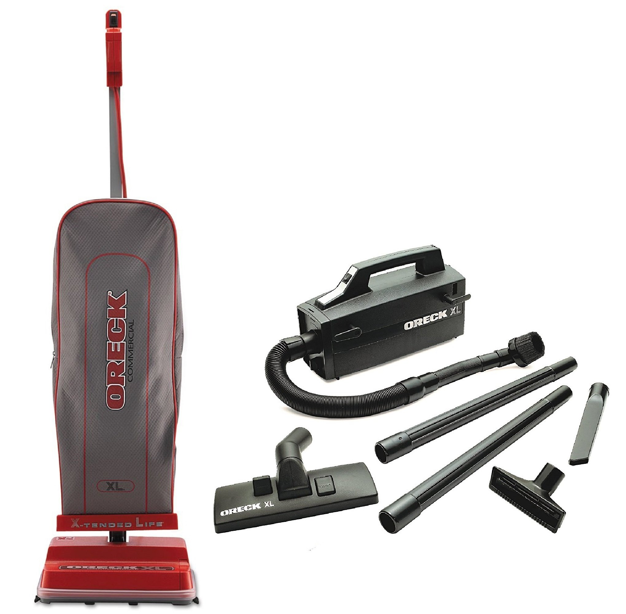 Oreck Commercial U2000R-1 120 V Red/Gray Upright Vacuum Bundle with Oreck Super Deluxe Compact Vac - BB880AD