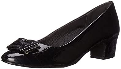 Easy Street Women's Wisteria Dress Pump, Black Patent/Crocodile, ...
