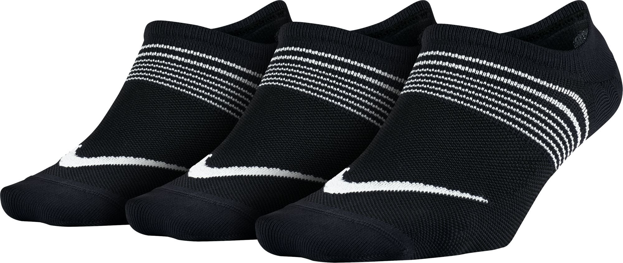 NIKE Women's Everyday Plus Lightweight Footies (3 Pairs), Black/White, Medium