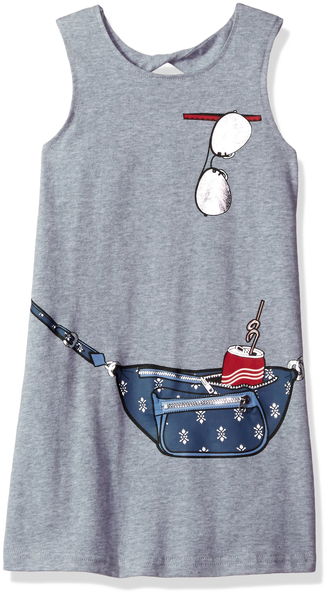 Jessica Simpson Little Girls' Purse and Sunglass Print Tank Dress, Heather Gray, 5