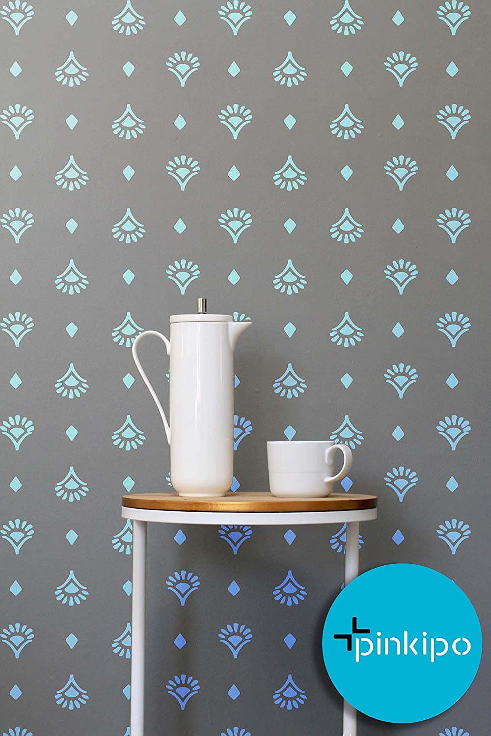 Handdrawn Large WALL STENCIL Modern Wall Stencils for Painting Stencils For Walls DARA Floral Wall Stencil Pattern