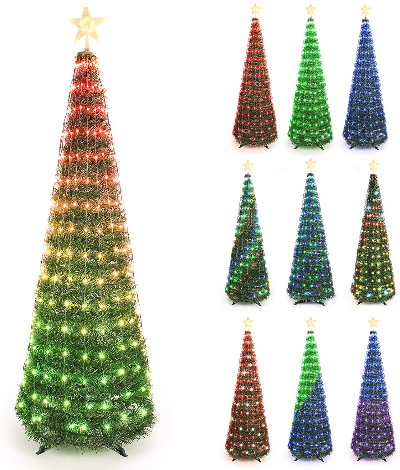 Brizled Christmas Tree, 6ft Artificial Prelit Christmas Tree with 304 Color Changing LED Lights & Warm White Tree Star Topper, Green Xmas Tree with Remote for Christmas Home Indoor Decorations
