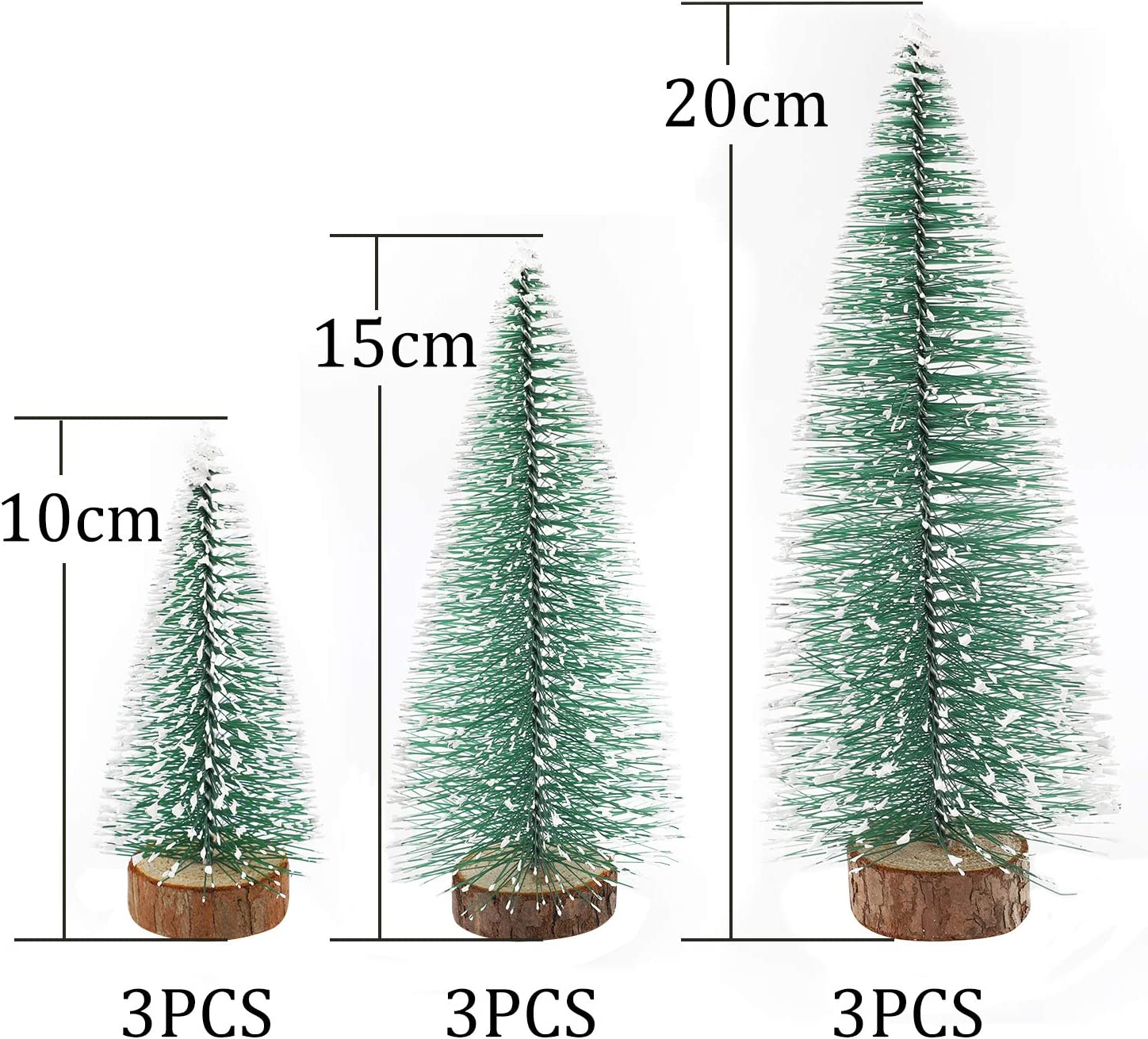 Artificial Sisal Snow Frost Trees 9Pcs Miniature Christmas Trees 3 Different Size Green Sisal Trees for Christmas Crafts Tabletop Party Home Decoration Herefun Mini Christmas Trees