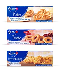 Bahlsen Delice, Deloba, and Butter Leaves Sampler (3 Pack)   3 classic butter biscuit flavors   Indulgent varieties of European flaky, buttery goodness (3.5 and 4.4 ounce boxes)