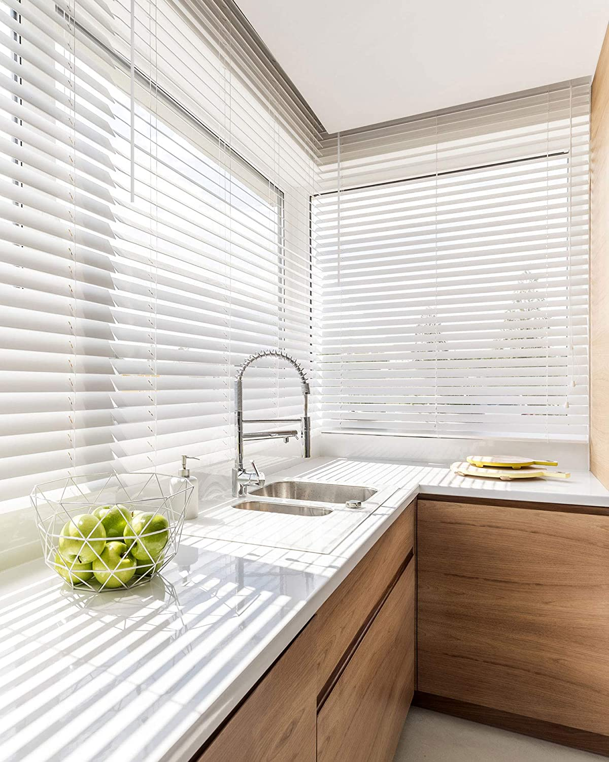 Amazon Com Chicology Cordless 2 In Faux Wood Blinds Horizontal Venetian Window Treatment Best For Kids Inside Mount 59 W X 60 H Basic White Home Kitchen