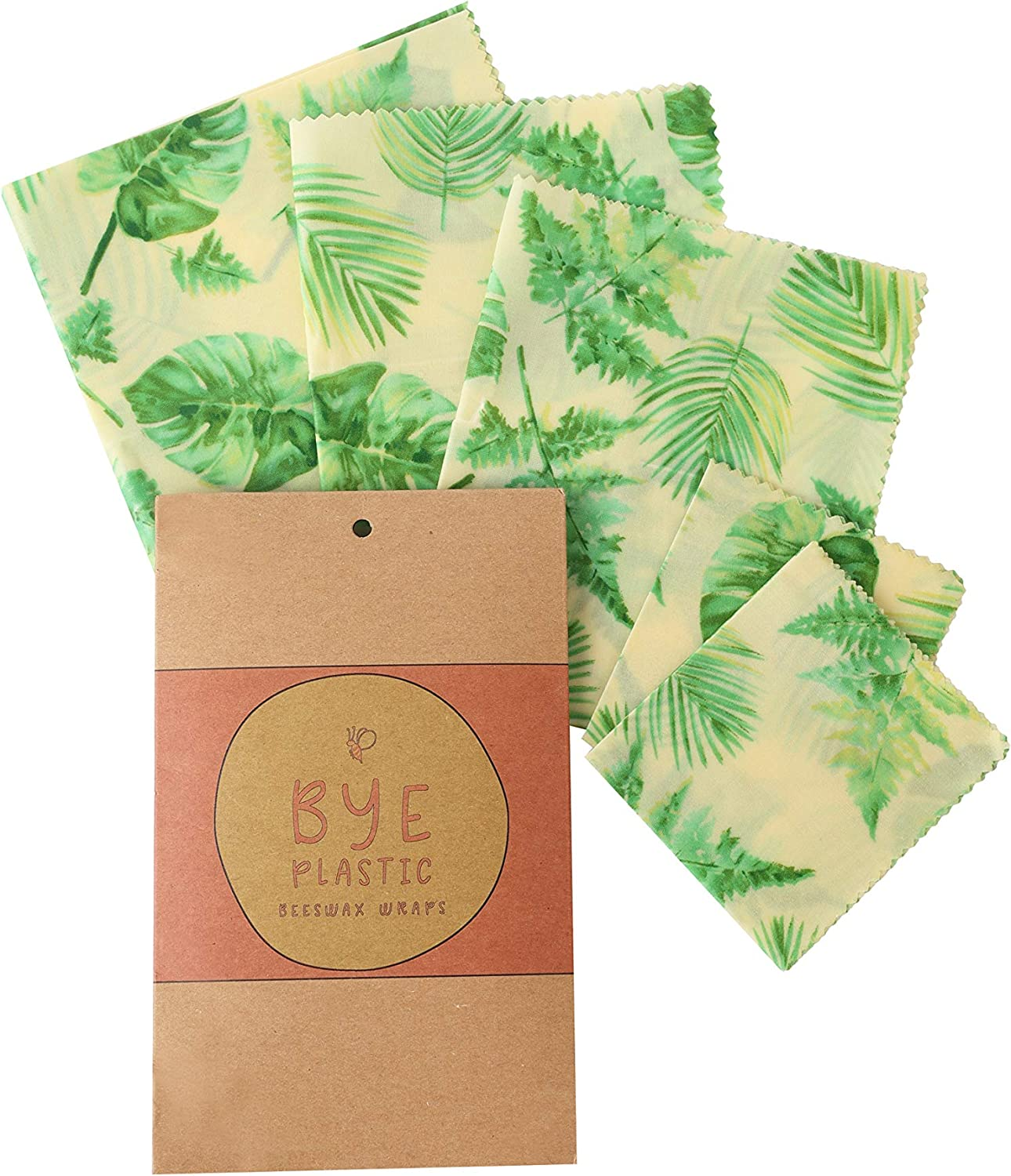 Reusable Beeswax Food Wraps - Pack Of 5 Eco Friendly Reusable Plastic Wrap Replacement - Beeswax Wraps - 100% Natural and Biodegradable with Zero Waste