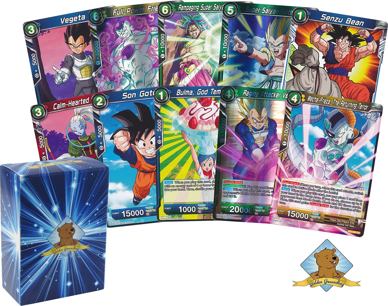 Dragon Ball Super Lot of 50 Cards! Random Rare Card In Each Bundle! Includes Golden Groundhog Deck Box!