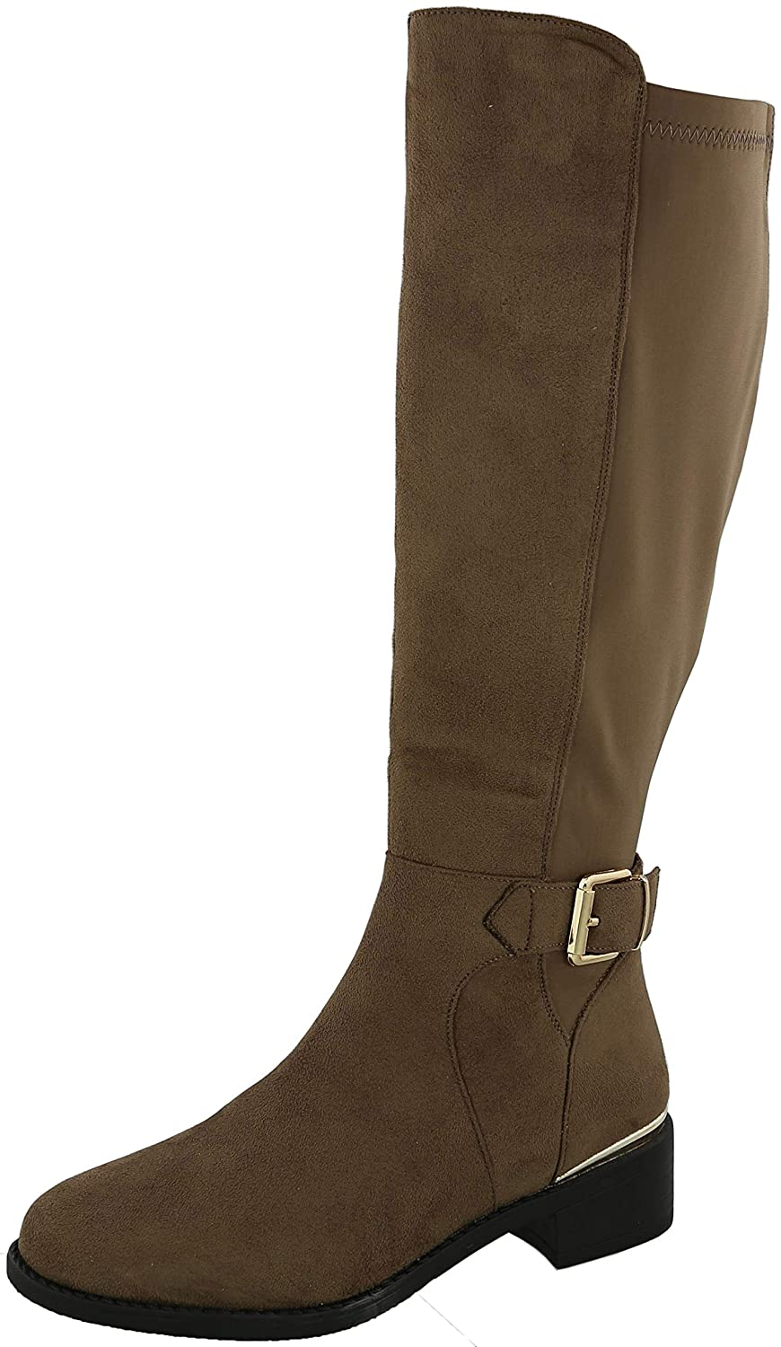 Taupe Imsu Cambridge Select Women's Round Toe Stretch Low Heel Knee-High Riding Boot