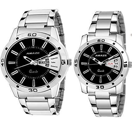 Amaze Day & Date Silver Steel Chain Dial Black Colour Analouge Men & Boys Couple Watch-CT54