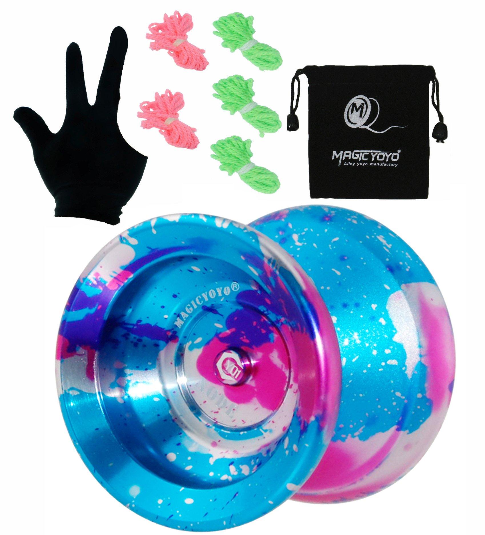MAGICYOYO Professional Unresponsive Yoyo Y01 Node, Long Spinning Time Prettiest Yoyo with Glove, Yoyo Bag and 5 Replacement Yoyo Strings (Blue Splash Pink&Silver)