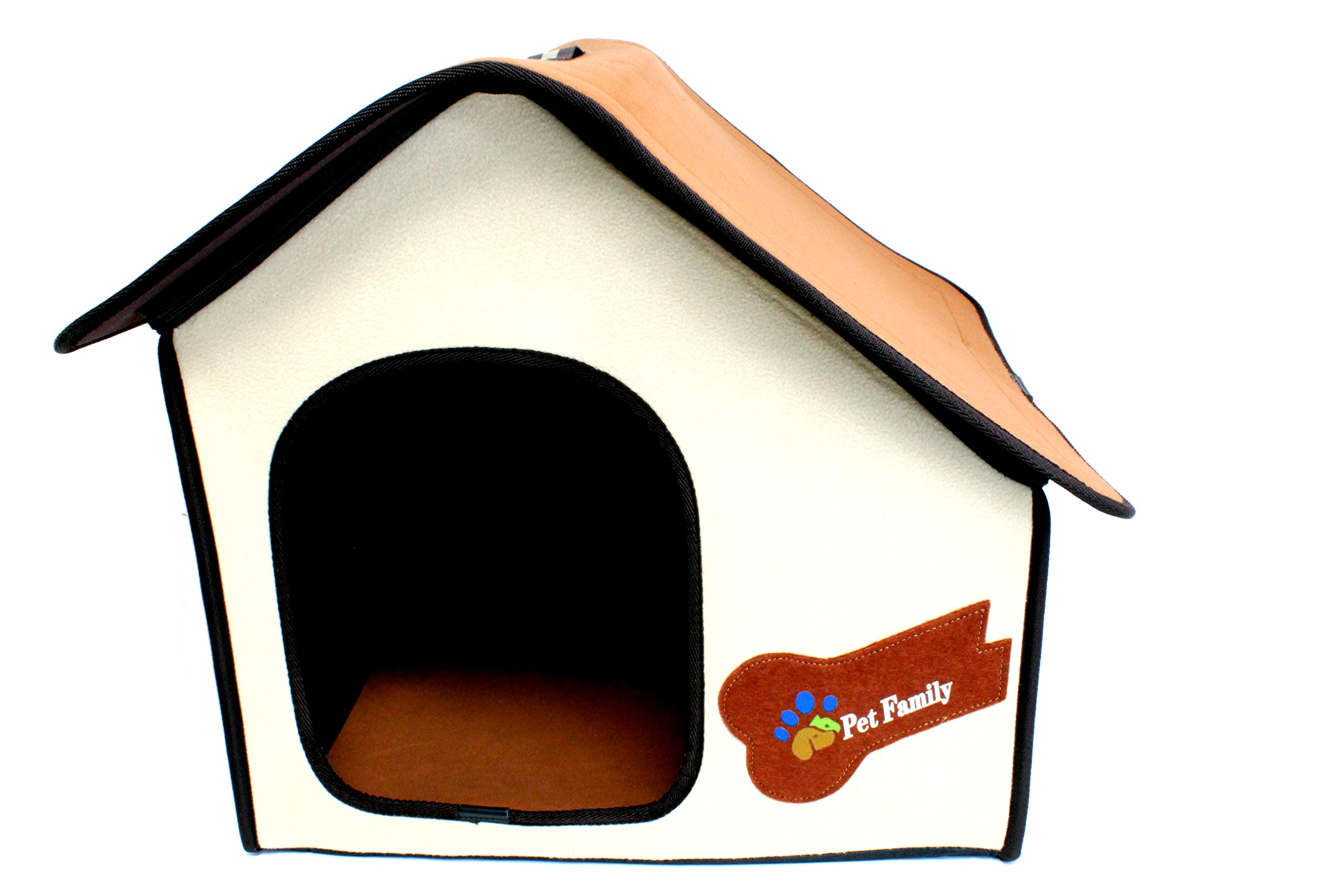 Royal Brands Portable Pet House - Lightweight, Collapsible Dog House - Tan - Perfect for Small Pets - 22'' L x 17'' W x 18'' H