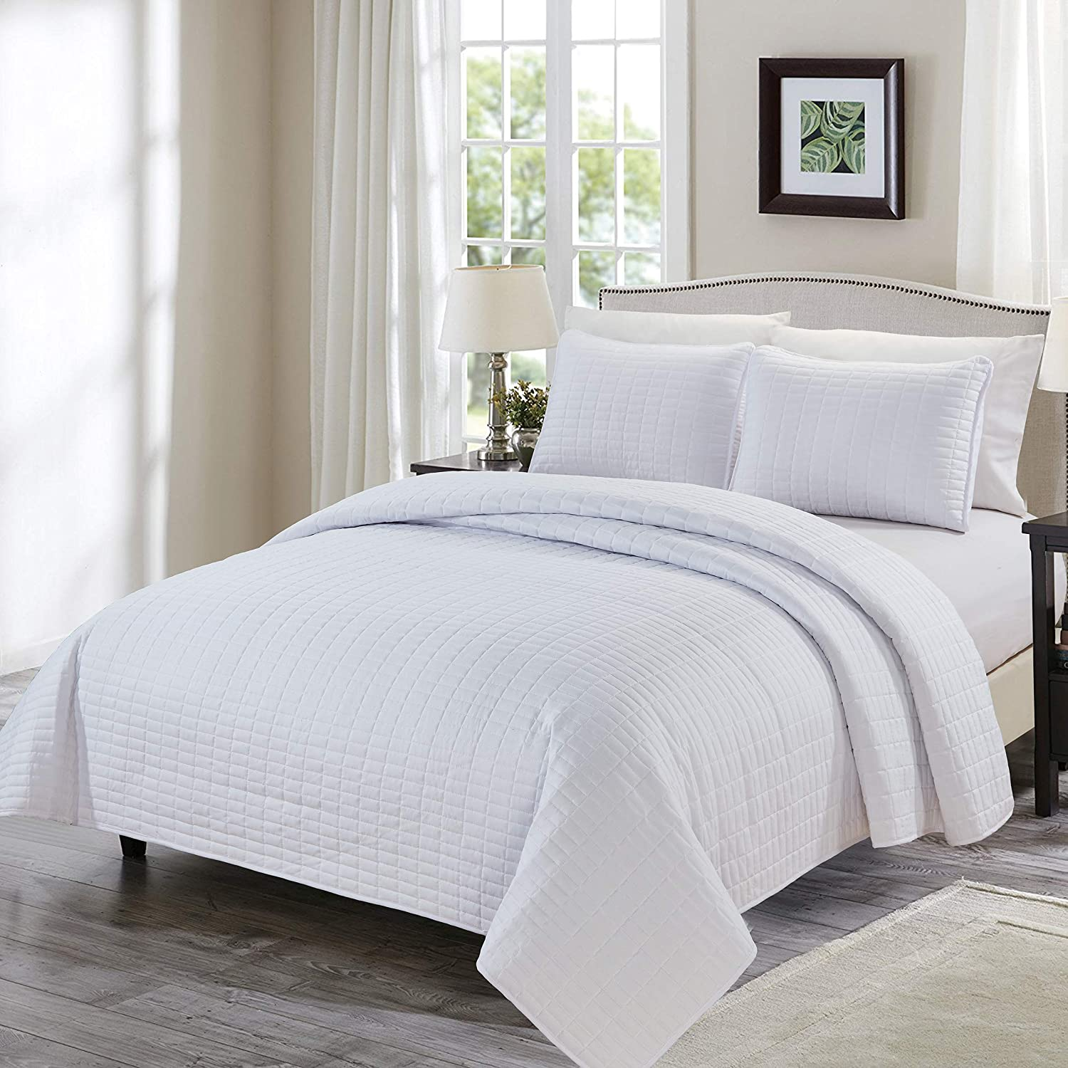 Chezmoi Collection 3-Piece Solid Modern Quilted Bedspread Coverlet Set King, White