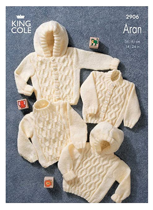 1d3f75934 King Cole Baby Sweaters   Jackets Aran Knitting Pattern 2906 by King ...