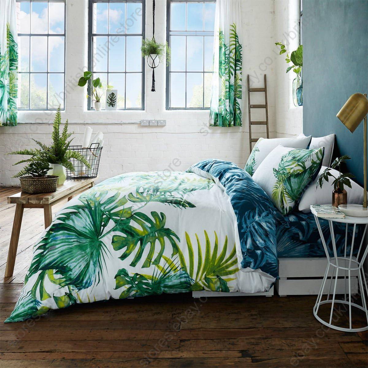 SELECT-ED® Luxuries - Juego de funda de edredón con fundas de almohada, diseño de hojas tropicales