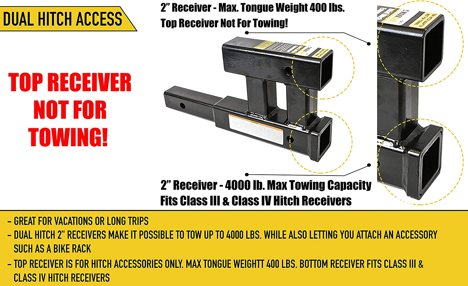 GTW Capacity Maxxtow Towing Products 4000 lbs MaxxHaul 70070 Dual Hitch Extension