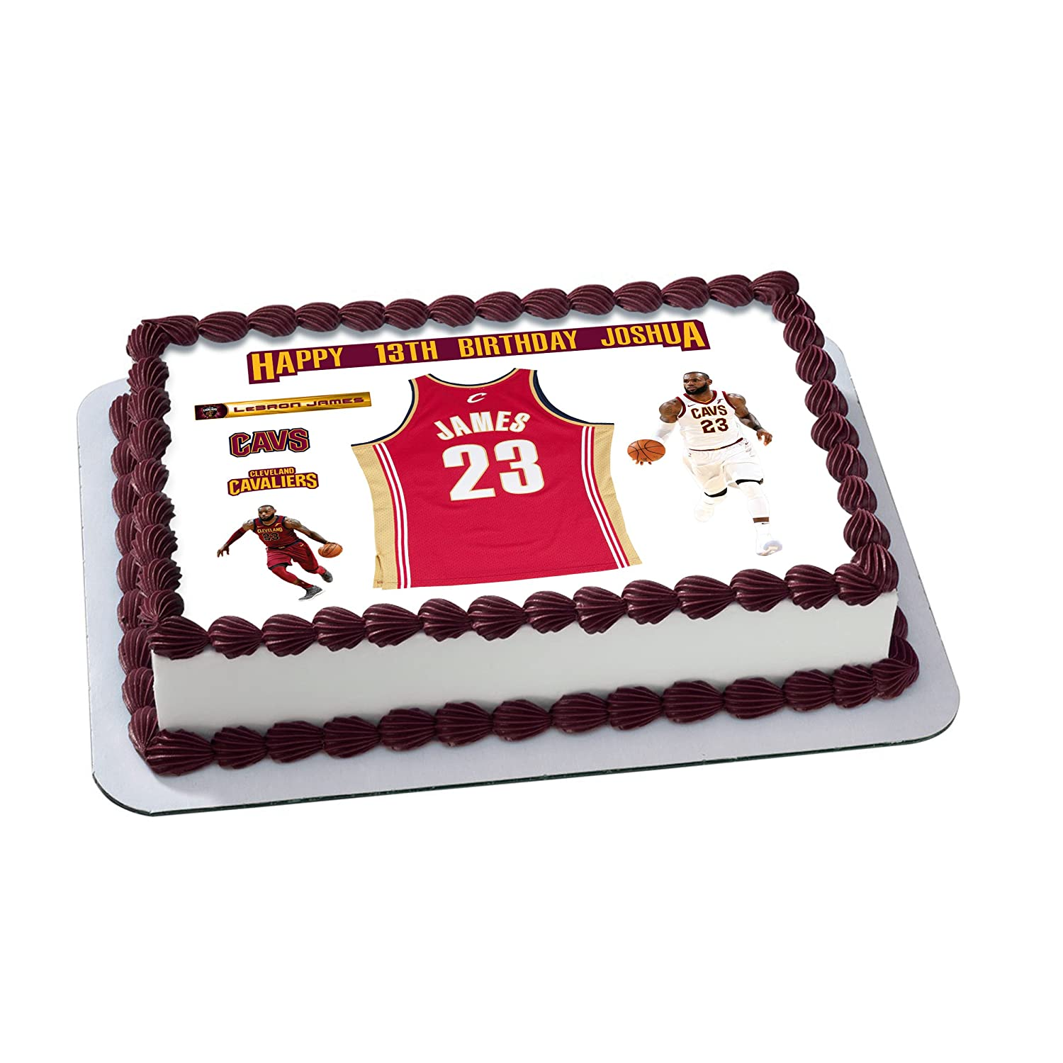 Lebron James 23 Cavaliers Birthday Cake Personalized Cake Toppers ...