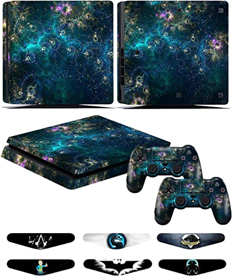 Skins Stickers for PS4 Slim Controller - Decals for Playstation 4 Slim Games - Cover for PS4 Slim Console Sony Playstation Four Accessories with Dualshock 4 Two Controllers Skin - Universe: Amazon.es: Videojuegos