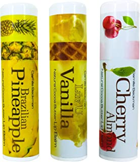 product image for Camille Beckman All Natural Cocoa Butter Lip Balm, Brazilian Pineapple, Cherry Almond, Luv U Vanilla Variety Pack #1.25 oz (3 Pack)