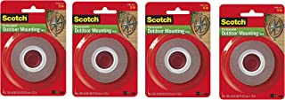 """product image for Heavy-Duty Exterior Mounting Tape, Holds 5 lb, 1""""x60"""" Pack of 4"""
