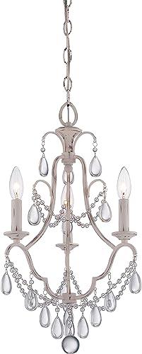 Minka Lavery 3137-648 Crystal Mini Candle Chandelier Lighting, 3 Light, 180 Watts, Provencal Blanc