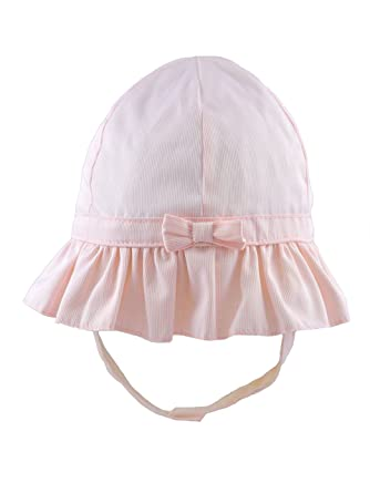 56ab5751b8458 Pesci Baby Girls Sun Hat with Chin Strap and Bow (6-12 Months