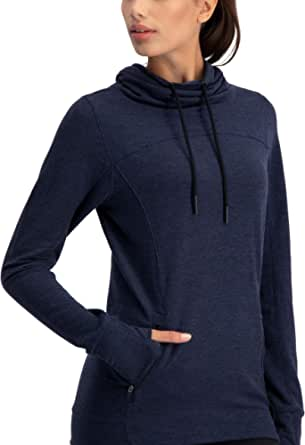 Three Sixty Six Dry Fit Pullover Sweatshirt for Women - Fleece Cowl Neck Sweater Jacket - Zip Pockets and Thumbholes
