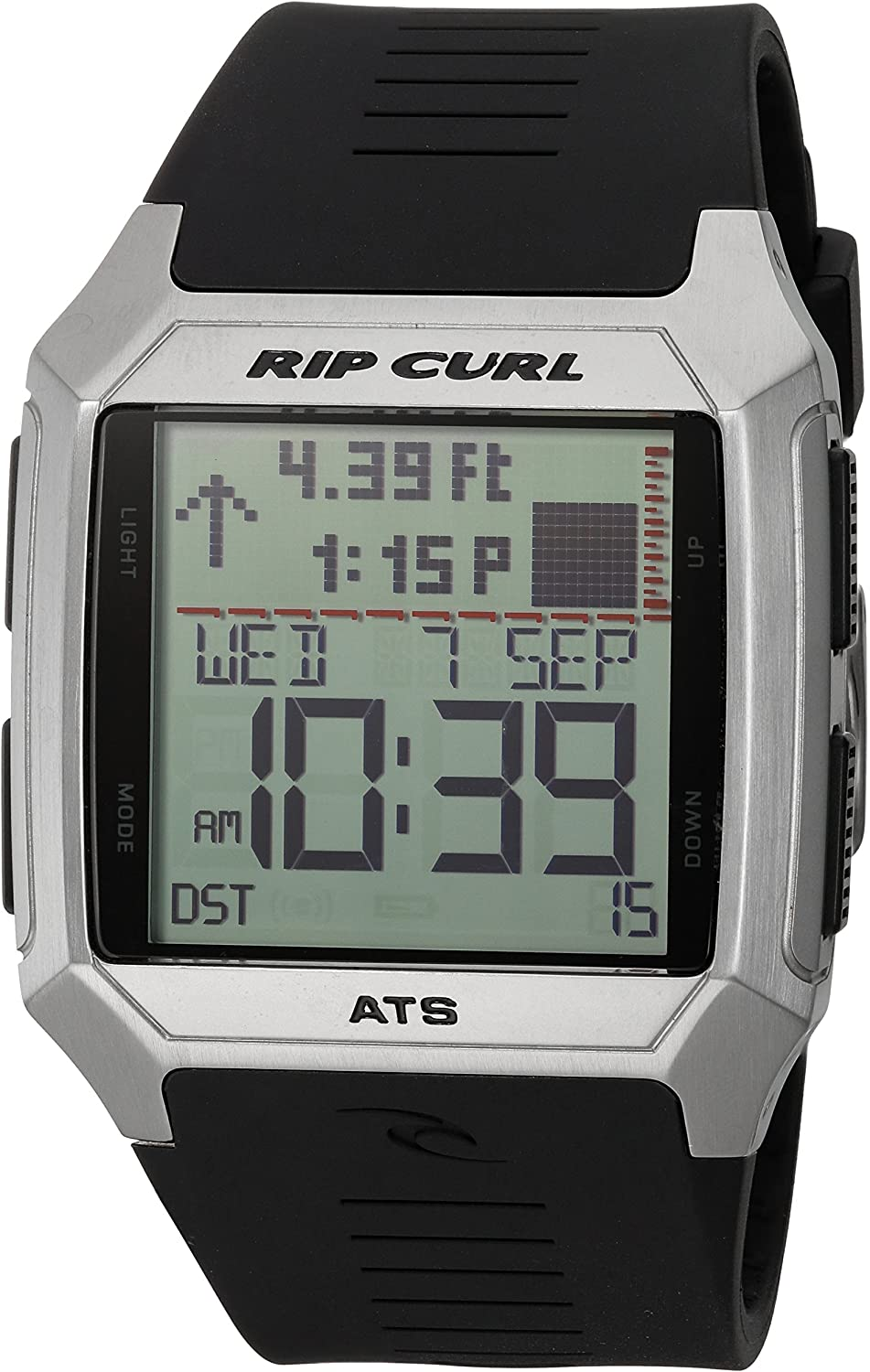 Rip Curl Men s Rifles SS Tide Quartz Stainless Steel and Polyurethane Sport Watch, Color Black Model A1120-BLK