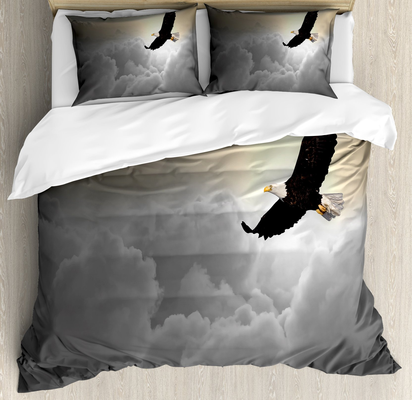 Eagle Duvet Cover Set King Size by Ambesonne, Majestic Creature Flying above Clouds Liberty Democracy and Freedom, Decorative 3 Piece Bedding Set with 2 Pillow Shams, Pale Grey Pale Yellow Black