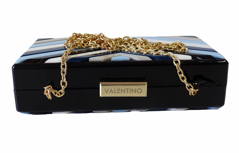 Tasche VBS1NL01STD ORCHID BLU/MULTICOLOR Mini Umhängetasche Schultertasche Clutch,Box blau Schwarz (18 x 10 x 5 cm) Valentino