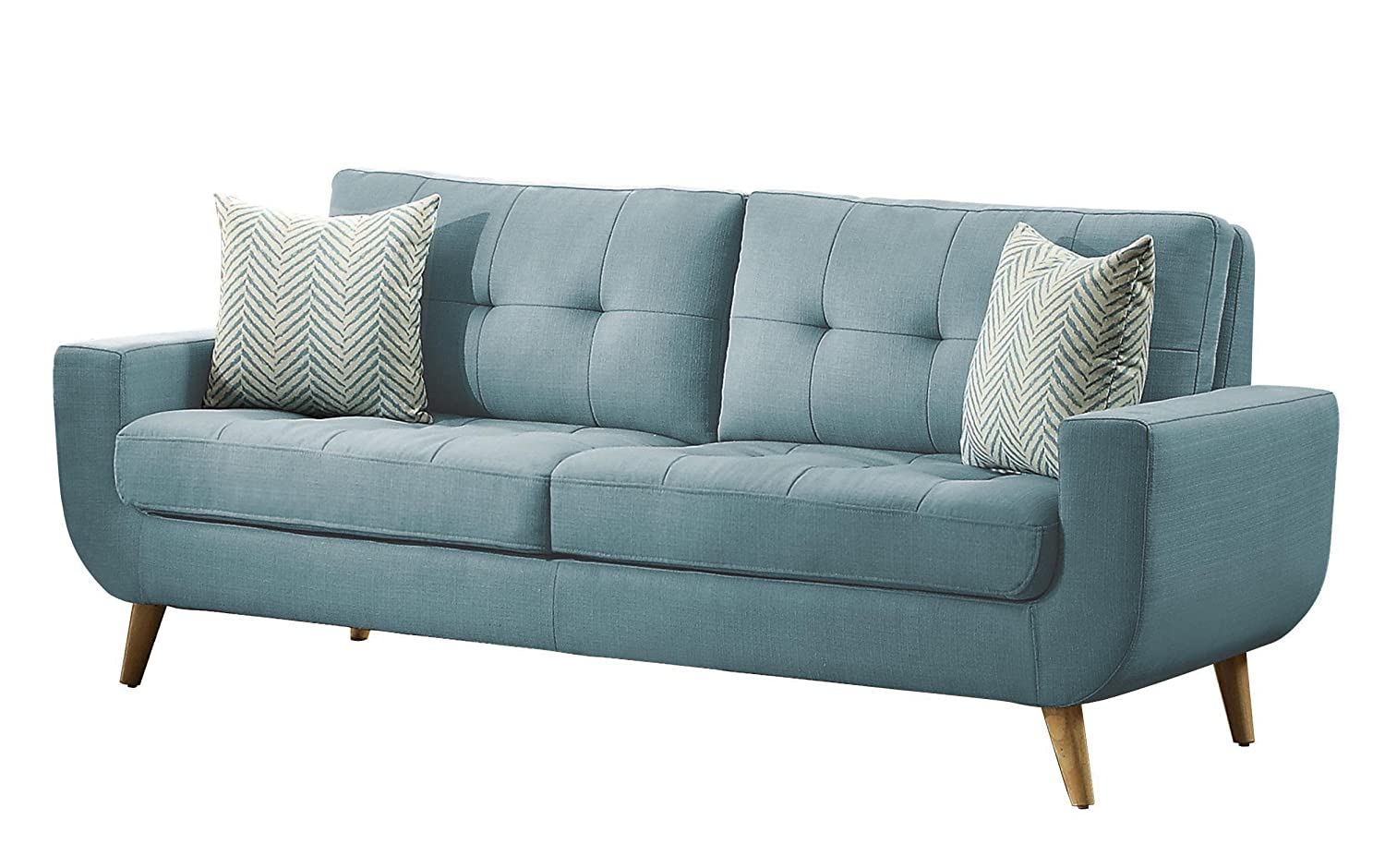 amazoncom homelegance deryn midcentury modern sofa with tufted back and two herringbone throw pillows teal kitchen u0026 dining
