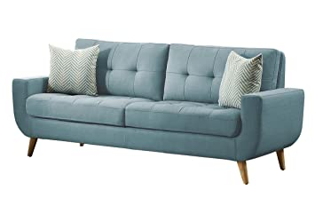 Homelegance Deryn Mid Century Modern Sofa With Tufted Back And Two  Herringbone Throw Pillows,