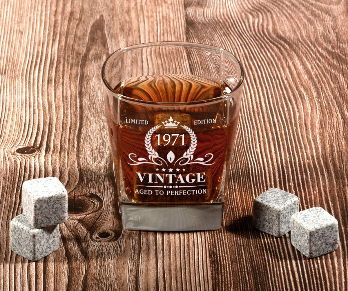 Vintage 1971 Whiskey Glass and Stones Funny 50 Birthday Gift for Dad Husband Brother 50 Year Old Bday Decorations 12OZ 50th Birthday Gifts for Men 50th Anniversary Present Ideas for Him