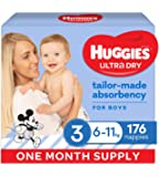 Huggies Ultra Dry Nappies, Boys, Size 3 Crawler (6-11kg), 176 Count, One Month Supply, (Packaging May Vary)