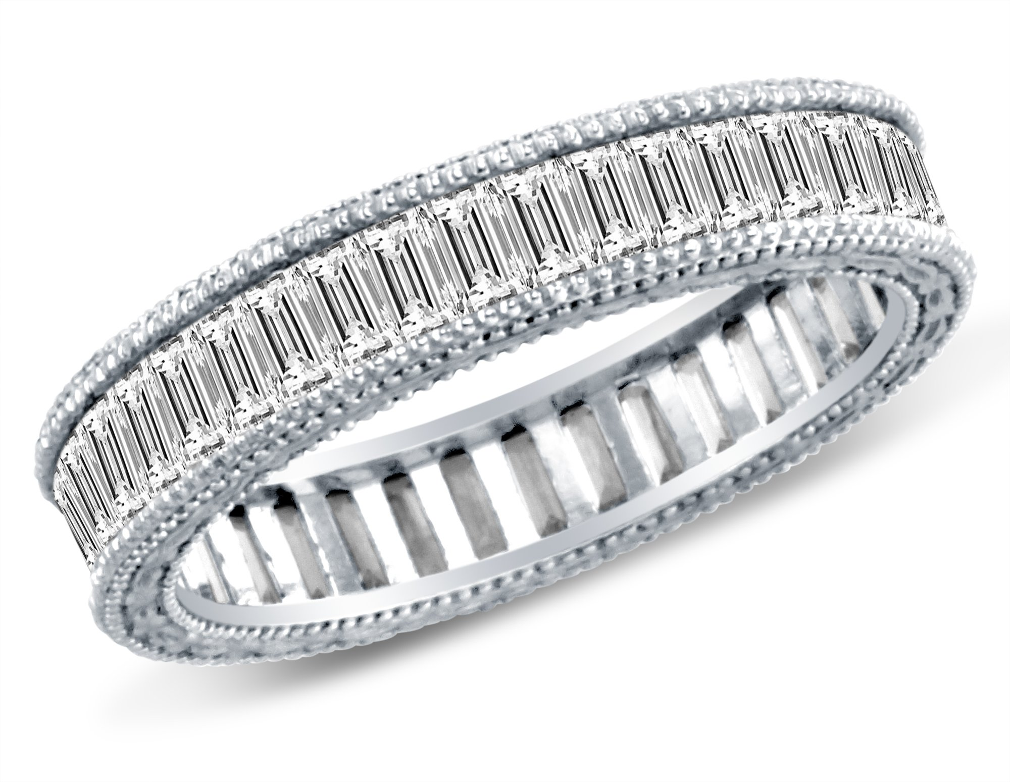 Size 8 - 4mm Solid 14K White Gold Channel Invisible Set Baguette Highest Quality CZ Cubic Zirconia Eternity Anniversary or Wedding Ring Band (Available in sizes 5 , 6 , 7 & 8)