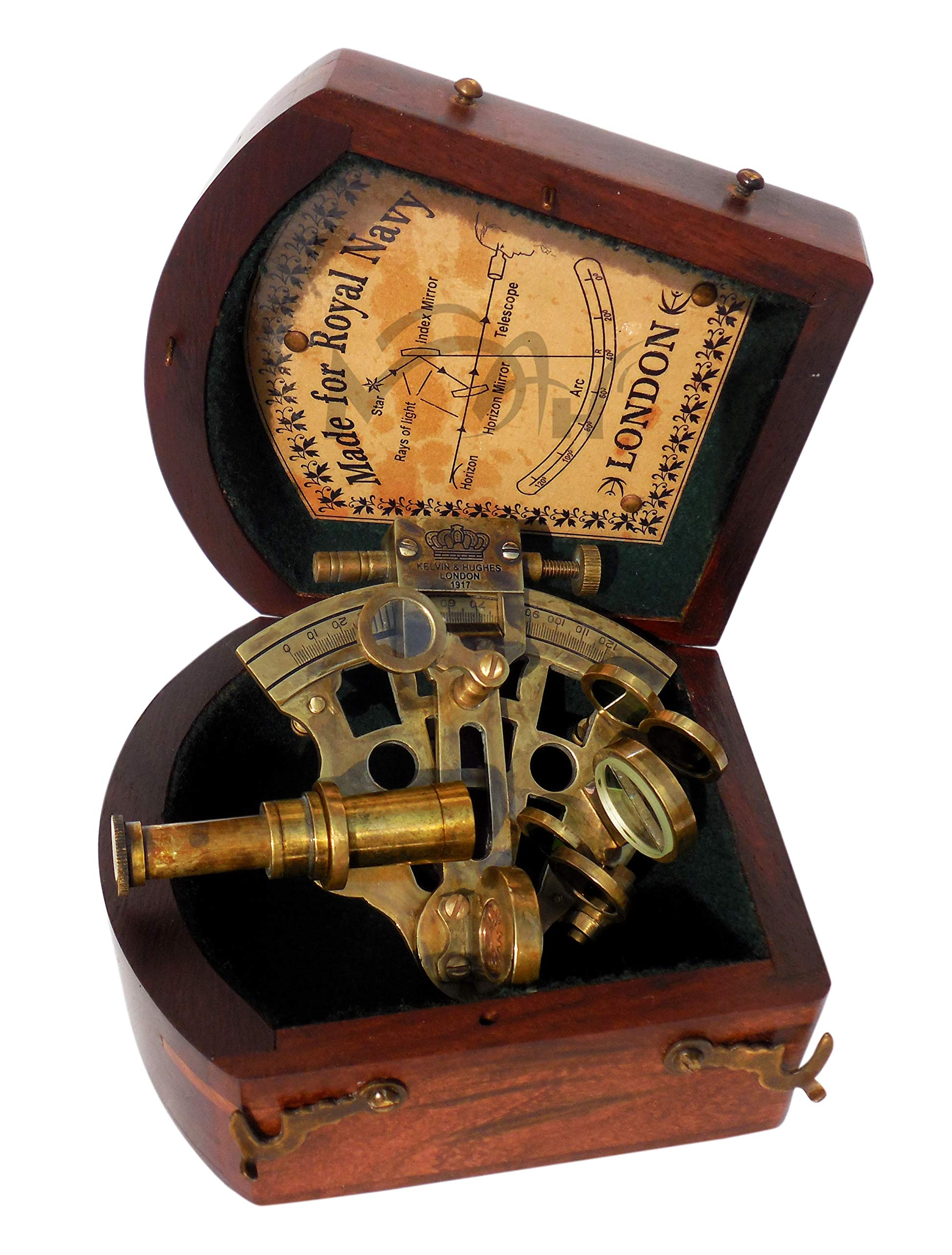 MAH Astrolabe Beautiful Handicraft Brass Sextant with Wooden Box. C-3216 by MAH