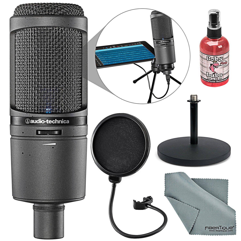 Audio-Technica AT2020USBi Condensador cardioide USB Mac y Windows Paquete de micrófono compatible con desinfectante + ca