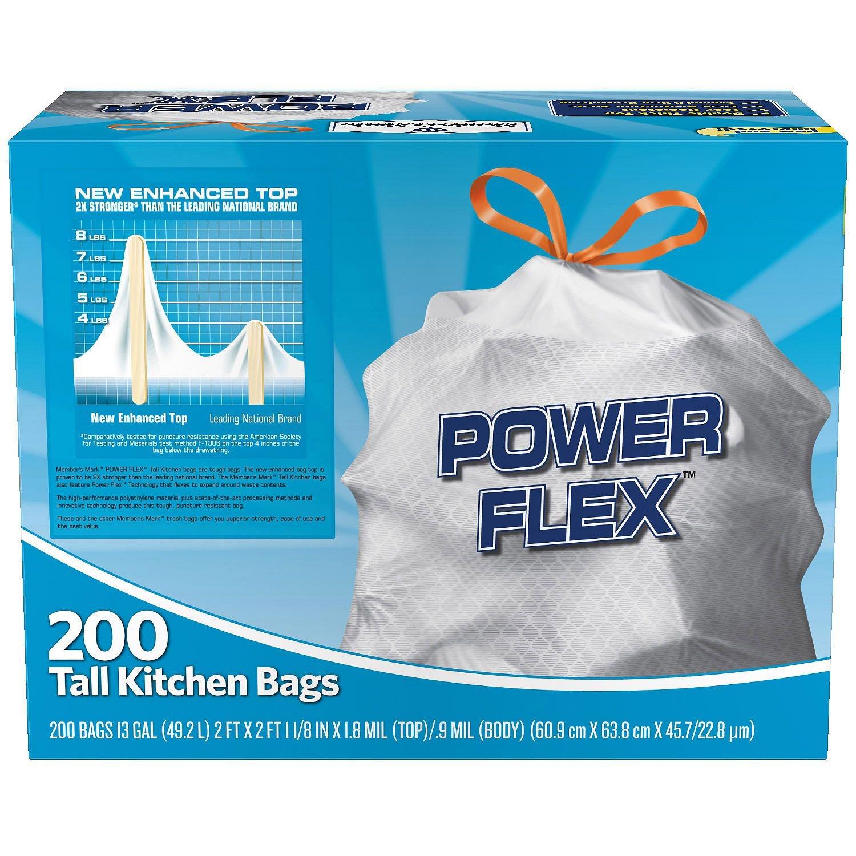 Amazon.com: 200 Trash Garbage Tie Drawstring TALL KITCHEN Bags 13 ...