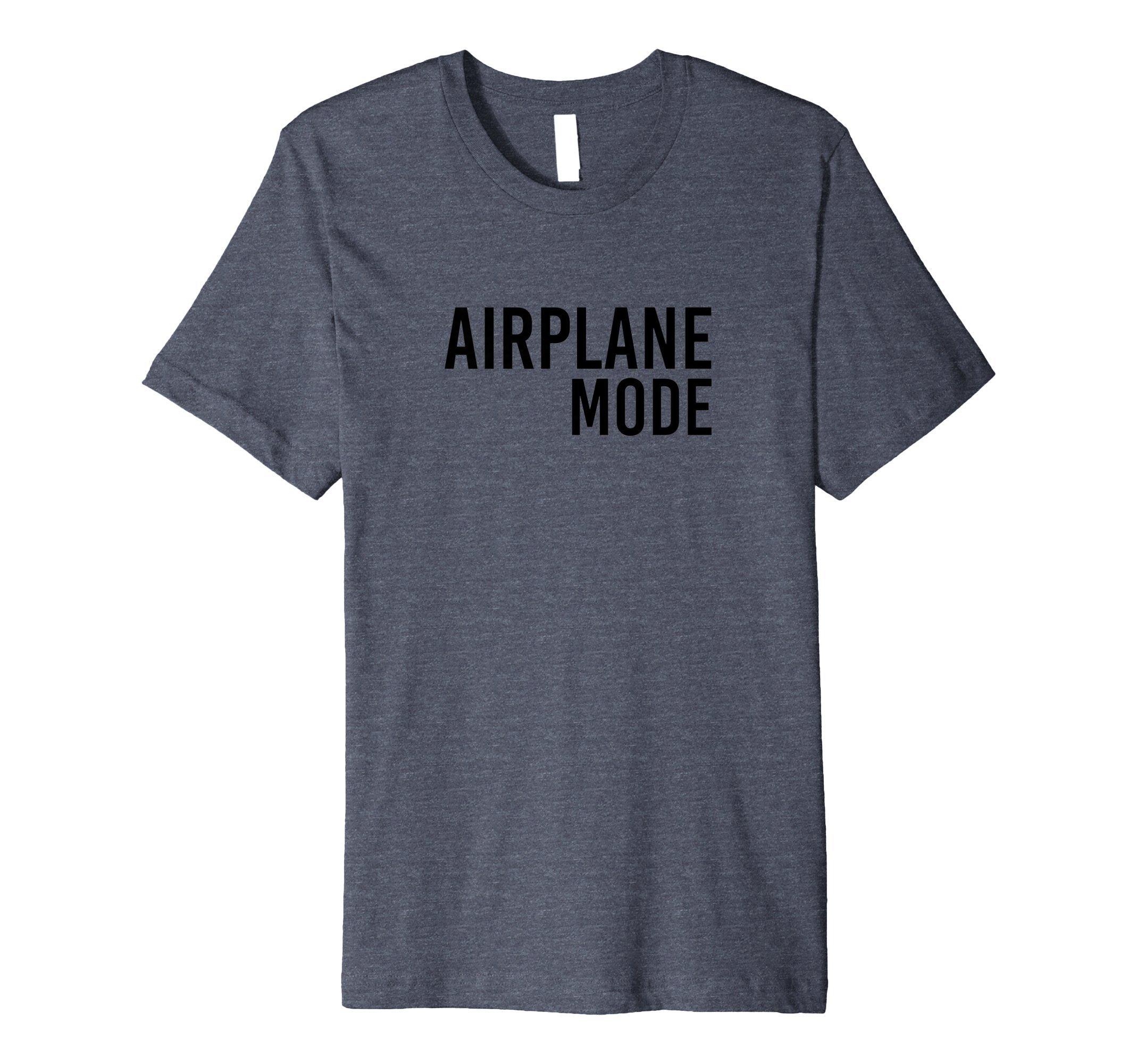 Mens Airplane Mode T-Shirt - Premium Travel Fashion Tee XL Heather Blue