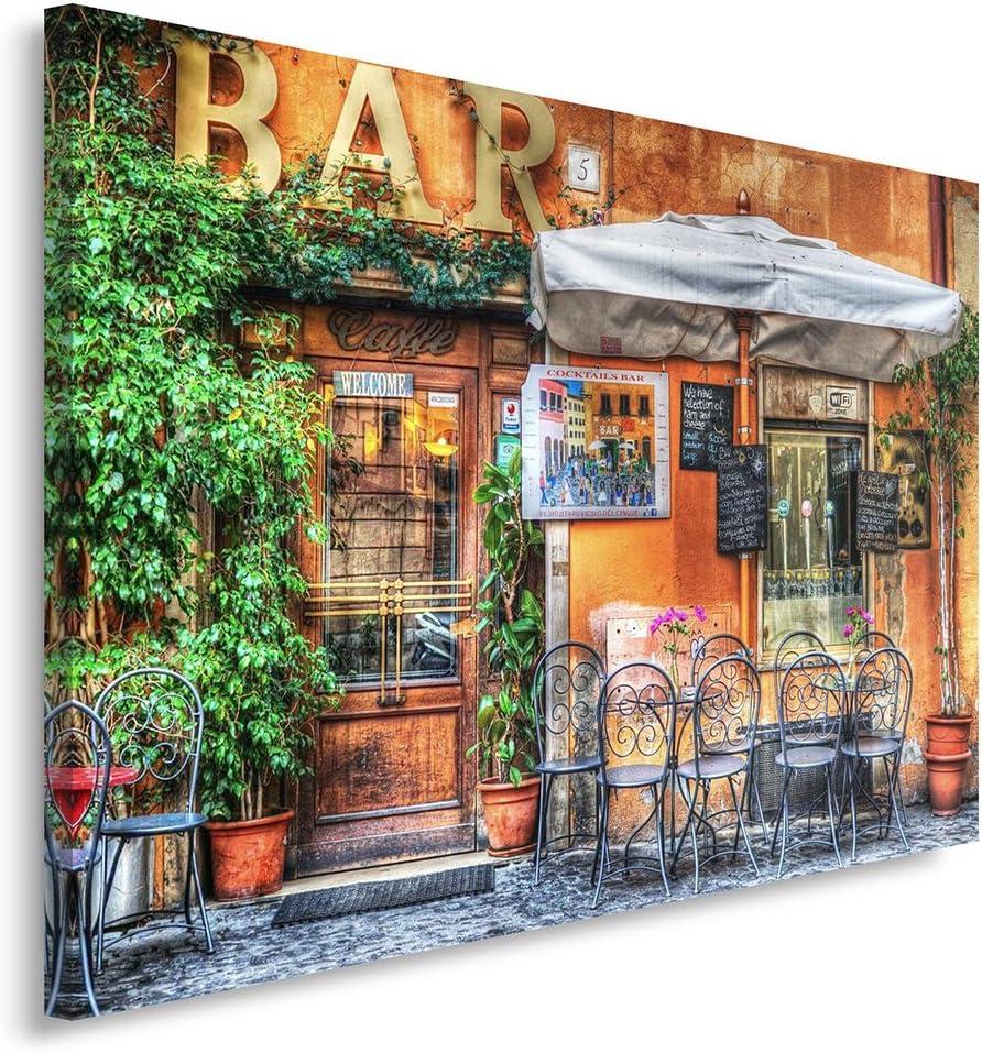 Feeby. Cuadro en Lienzo - 1 Parte - 60x80 cm, Imagen impresión Pintura decoración Cuadros de una Pieza, Bar, Arquitectura, Caffe, MARRÓN