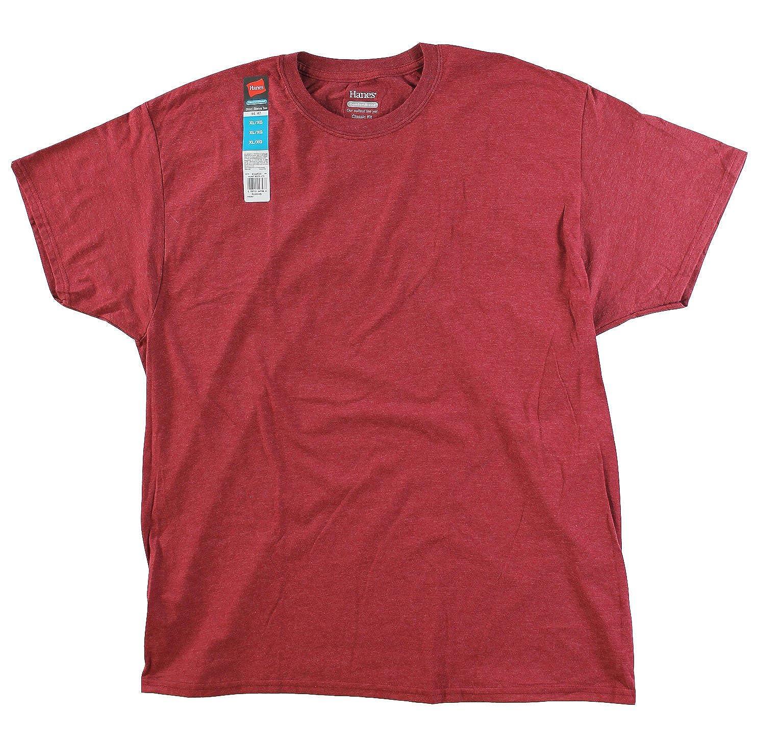 e7f87fd9b686 Hanes Men's ComfortSoft T-Shirt (Pack of 4) (Large, Burgandy) at Amazon  Men's Clothing store: