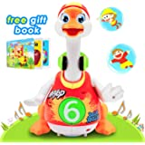 Baby Toys 6 to 12 Months Up, Super Fun Dancing Hip Hop Swing Goose EQ Development Educational Music Toys Flexible Walking/ Light /Music Toys for Toddlers (Red)