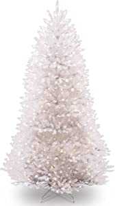National Tree Company Pre-lit Artificial Christmas Tree | Includes Pre-strung White Lights and Stand | Dunhill White Fir- 7.5 ft