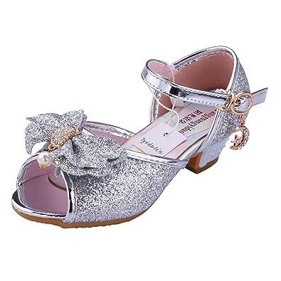 Kinder Prinzessin Schuhe Sandale Ballerina - Tyidalin mit Schmetterling und  Paillette für Mädchen Kostüm Karneval Party f9df154b51