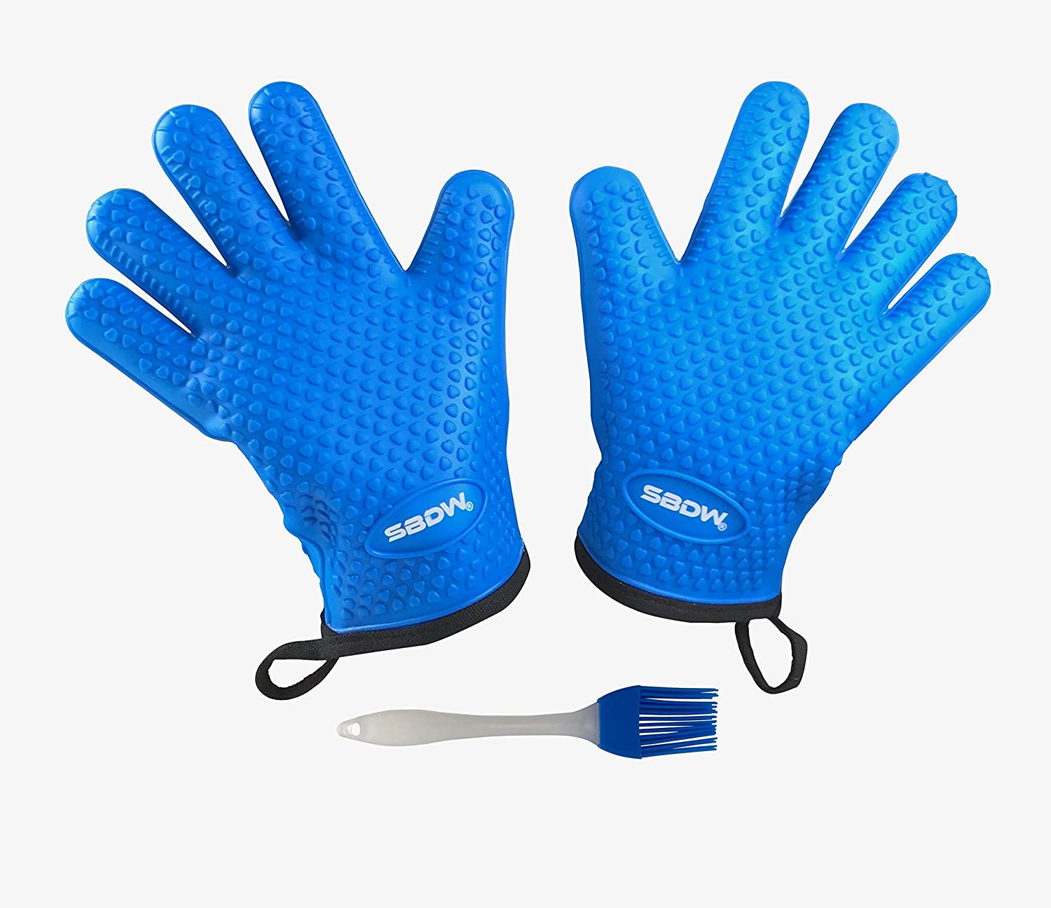 Heat Resistant BBQ Cooking Gloves - Plus Grill Brush & E-Book For Grilling. 3 Items Total: Oven Mitts With Protective Lining, Matching Color Grill Brush, & E-Book Of BBQ Recipes - By SBDW.