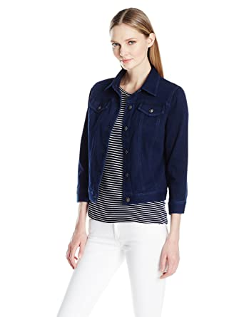 6507864290a Amazon.com  Ruby Rd. Women s Plus Size Button-Front Indigo-Dyed Stretch  Knitted Twill Jacket  Clothing