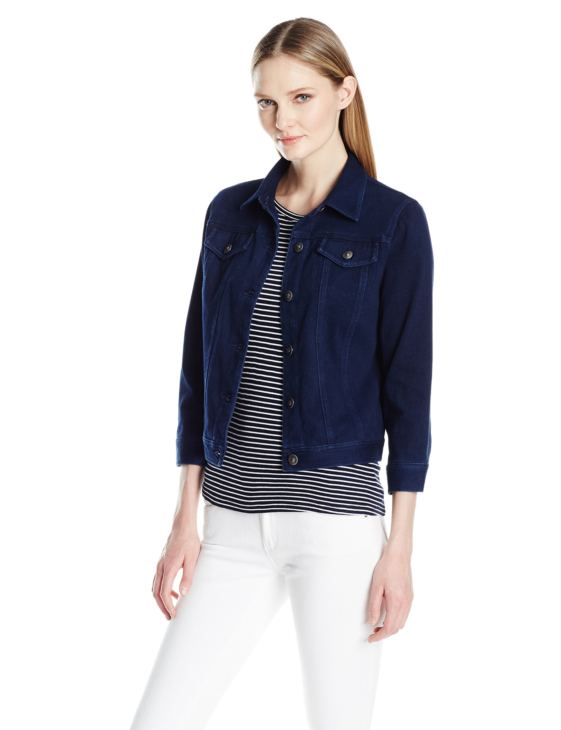 Ruby Rd. Women's Petite Button-Front Dyed Stretch Knitted Twill Jacket, Indigo, 14P