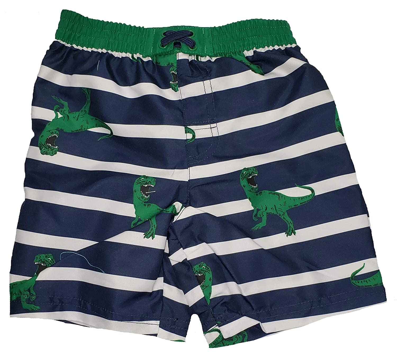 Toddler Boys T-Rex Dinosaurs on Blue Cove Stripes Swim Short Trunk