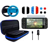 Pegly 13-1 Blue Accessories Kit For Nintendo Switch, Including HD Carrying Case,Two Joy-Con Steering Wheels, Car Charger, Joy-con Silicon case and Tempered Glass