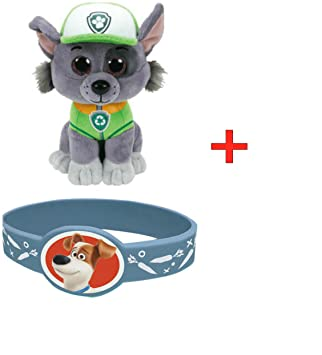 66d780f6fb2 Amazon.com  TY Beanie Babies -Paw Patrol- ROCKY By ADD SHIPFREE GIFT WITH  PURCHASE (PETS BRACELETE)  Toys   Games